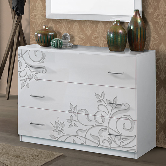 Mayon Wooden Chest Of Drawers In Flower Pattern White Gloss