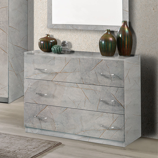 Mayon Wooden Chest Of Drawers In Grey Marble Effect
