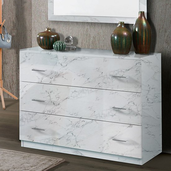 Mayon Wooden Chest Of Drawers In White Marble Effect