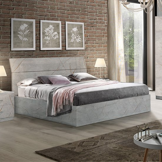 Mayon Wooden King Size Bed In Grey Marble Effect