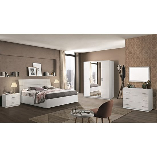 Mayon Wooden King Size Bed In White High Gloss_3