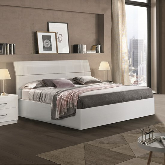 Mayon Wooden King Size Bed In White High Gloss_1