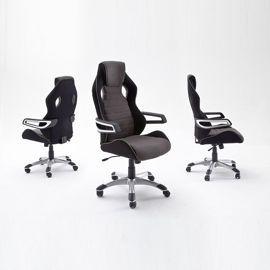 Athens Fabric Home Office Chair In Black And Grey_2