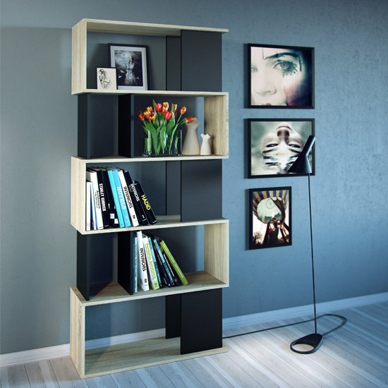 Mazika Wooden 4 Shelves Open Bookcase In Oak And Black