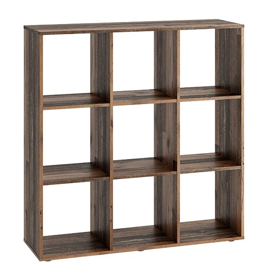 McAllen Wooden Display Stand In Old Style Dark With 9 Compartments_2