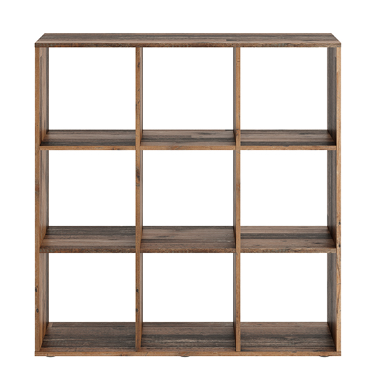 McAllen Wooden Display Stand In Old Style Dark With 9 Compartments_3