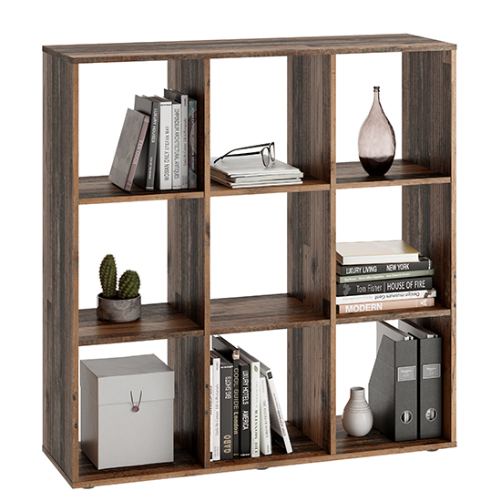 McAllen Wooden Display Stand In Old Style Dark With 9 Compartments_1