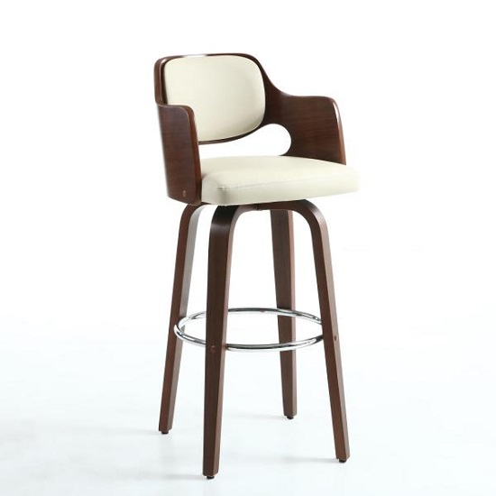 Mcgill Bar Stool In Cream PU And Walnut With Chrome Foot Rest_1