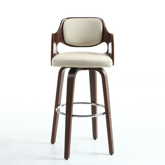Mcgill Bar Stool In Cream PU And Walnut With Chrome Foot Rest_2