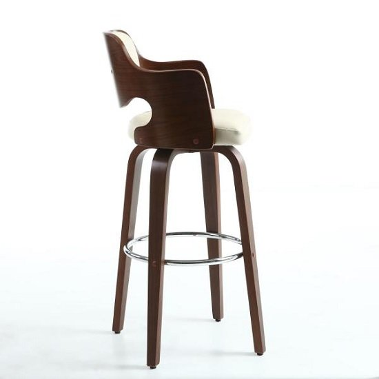 Mcgill Bar Stool In Cream PU And Walnut With Chrome Foot Rest_3