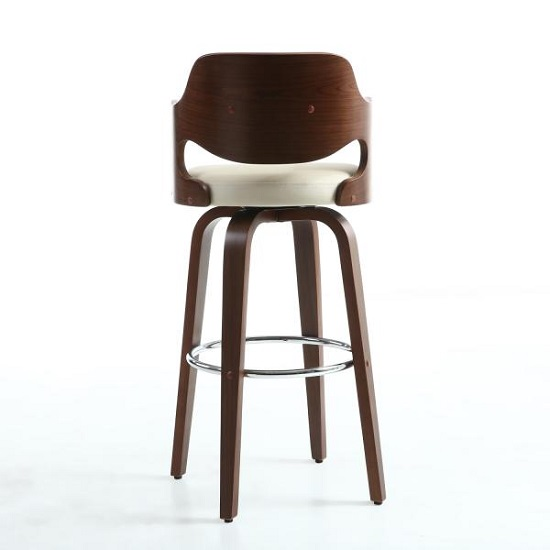 Mcgill Bar Stool In Cream PU And Walnut With Chrome Foot Rest_4
