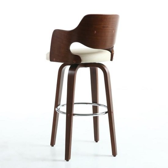 Mcgill Bar Stool In Cream PU And Walnut With Chrome Foot Rest_5