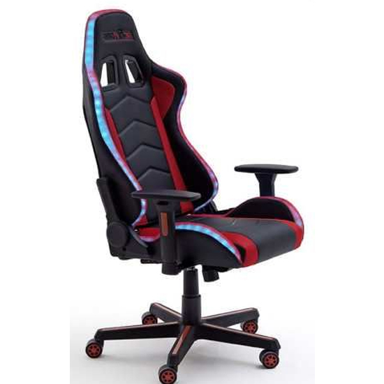 McRacing Fabric LED Home And Office Chair In Black And Red