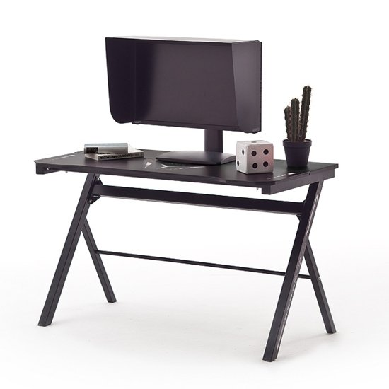 McRacing LED Wooden Computer Desk With In Black_2