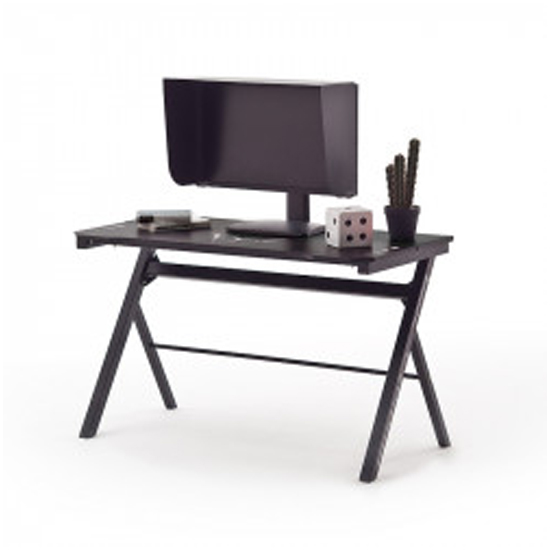 McRacing Wooden Computer Desk With LED And Cover In Black
