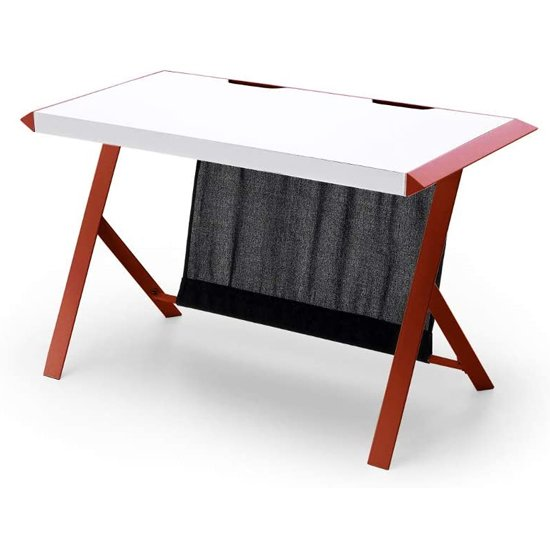 McRacing Wooden Computer Desk In White And Wine Red