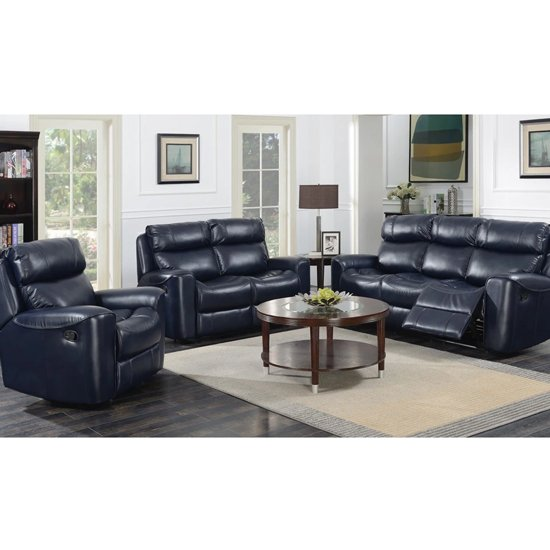 Mebsuta Leather 3 Seater Sofa And 2 Armchairs Suite In Navy