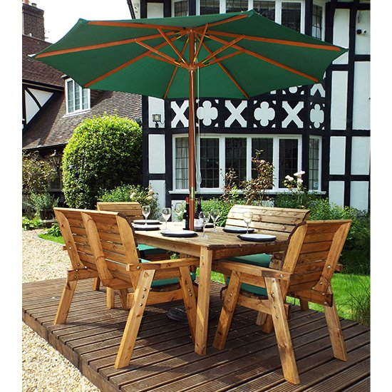 Mecot 6 Seater Dining Set With Parasol In Green