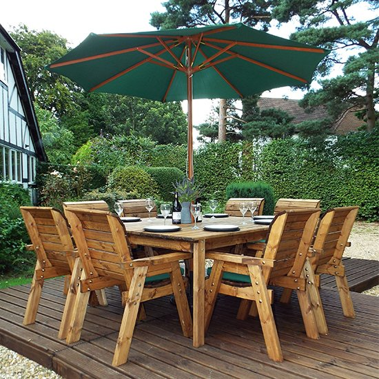 Mecot 8 Seater Dining Set With Chairs And Parasol In Green
