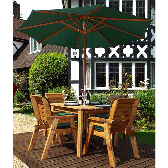 Mecot Rectangular 4 Seater Dining Set With Parasol In Green_2