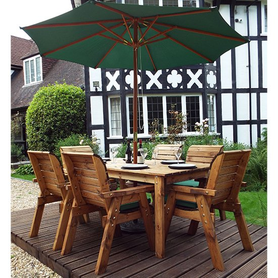 Mecot Rectangular 6 Seater Dining Set With Parasol In Green_2