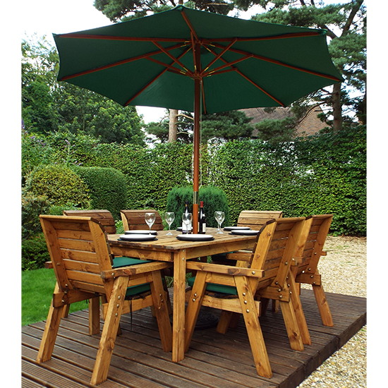 Mecot Rectangular 6 Seater Dining Set With Parasol In Green_1