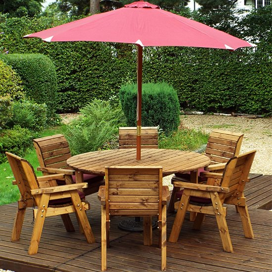 Mecot Round 6 Seater Dining Set With Parasol In Burgundy