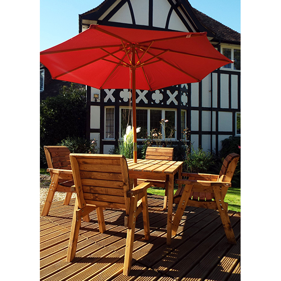 Mecot Square 4 Seater Dining Set With Parasol In Burgundy_2