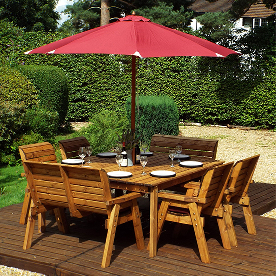 Mecot Square 8 Seater Dining Set With Parasol In Burgundy