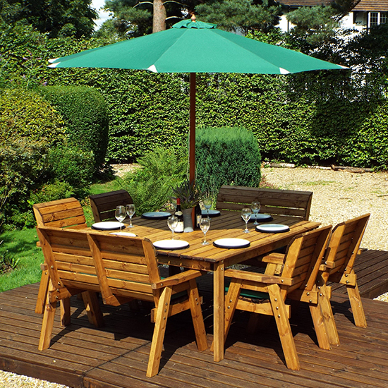 Mecot Square 8 Seater Dining Set With Parasol In Green