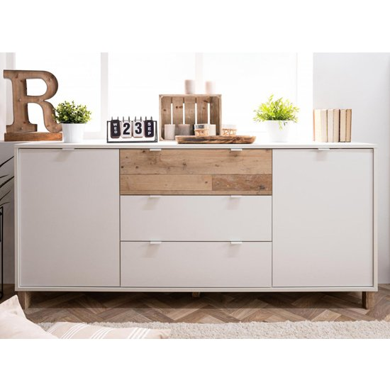 View Mecoy 2 door 3 drawer sideboard in old style bright and white