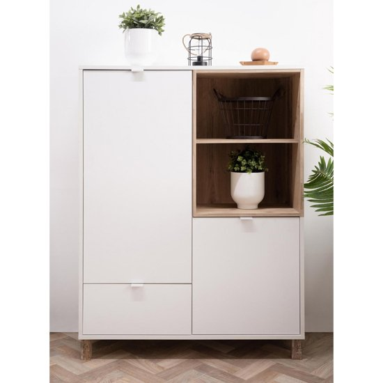 Mecoy Wooden Highboard In Old Style Bright And White
