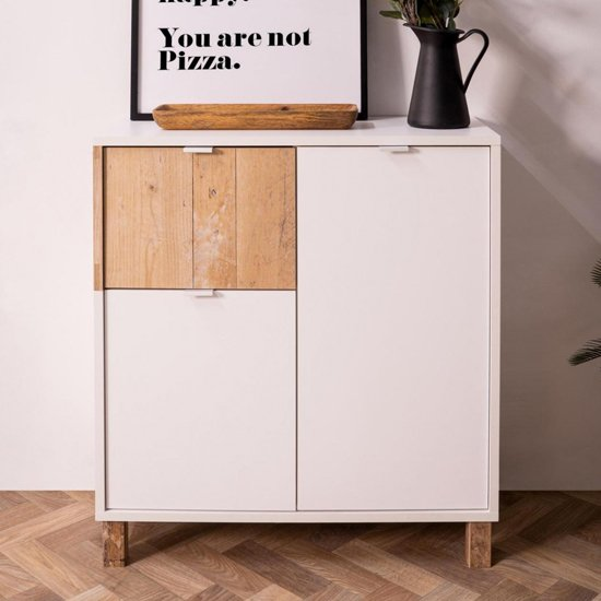View Mecoy wooden storage cabinet in old style bright and white