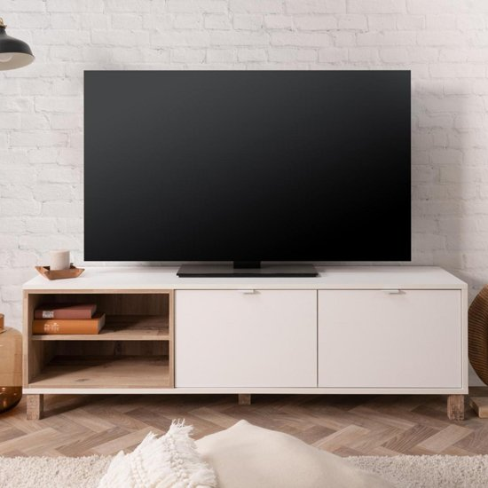 Mecoy Wooden TV Stand In Old Style Bright And White