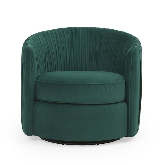 Medan Modern Swivel Sofa Chair In Green Velvet_2