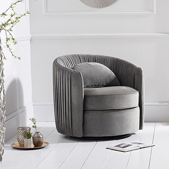 Medan Modern Swivel Sofa Chair In Grey Velvet