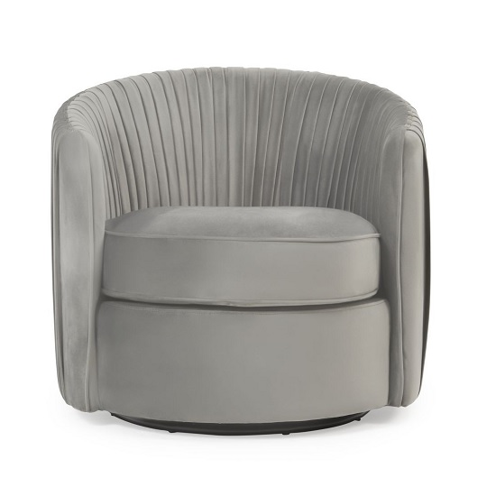Medan Modern Swivel Sofa Chair In Grey Velvet_2