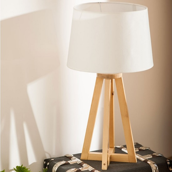 View Medan table lamp in white with natural wooden base