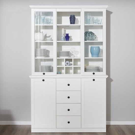 Median Wooden Display Cabinet Wide In White With LED Lighting_3