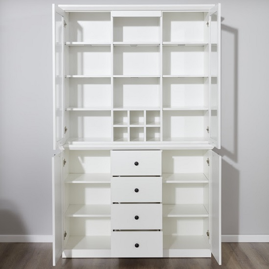 Median Wooden Display Cabinet Wide In White With LED Lighting_2