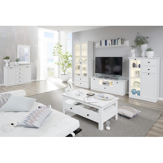 Median Wooden TV Stand In White With LED Lighting_2