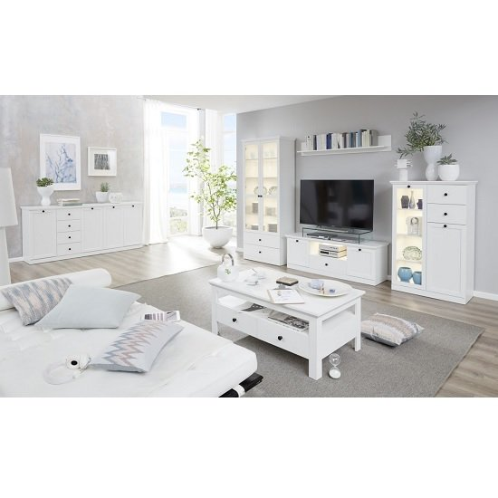 Median Wooden TV Stand In White With LED Lighting_3