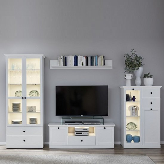Median Wooden TV Stand In White With LED Lighting_4