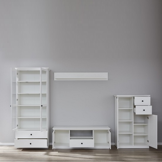 Median Wooden TV Stand In White With LED Lighting_5