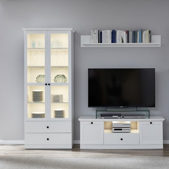 View Median wooden living room set 2 in white with led lighting