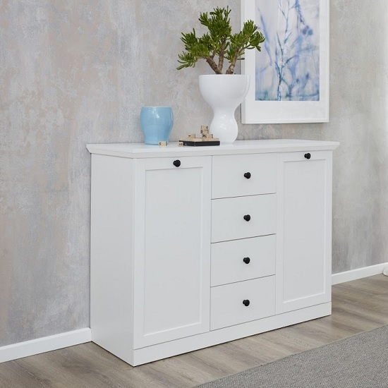 Median Wooden Sideboard In White With 2 Doors And 4 Drawers