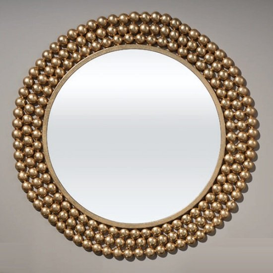 Mediano Contemporary Wall Mirror Round In Gold