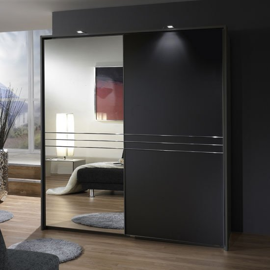 Medeira Sliding Wardrobe In Lava Coloured With 1 Mirrored