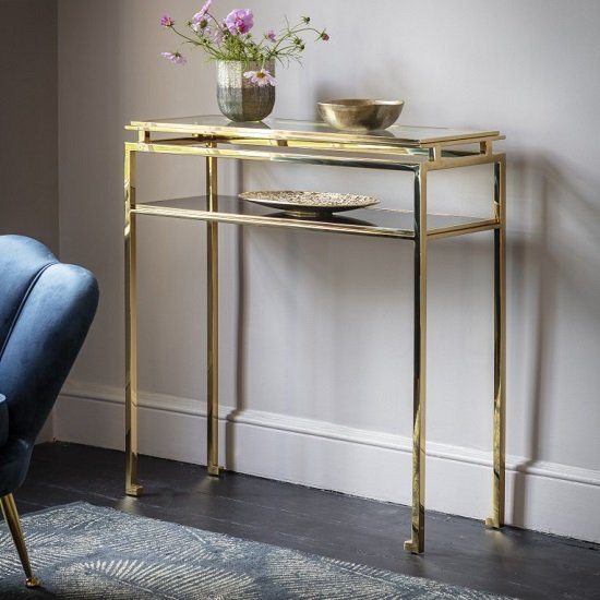 Medulla Glass Console Table In Gold Finish Metal Frame