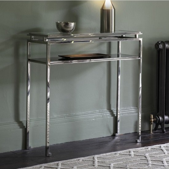 Medulla Glass Console Table In Silver Finish Metal Frame